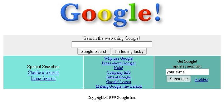 Google Screenshot aus dem Jahre 2000!